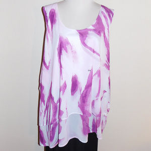 26/28 Lane Bryant Purple Swirl Sleeveless Top NWT